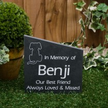 Medium black slate gravestone